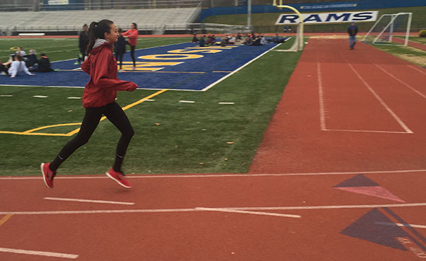 Sophomore Saki Martin trains for an upcoming meet on the winter track team. The team works out every weekday.