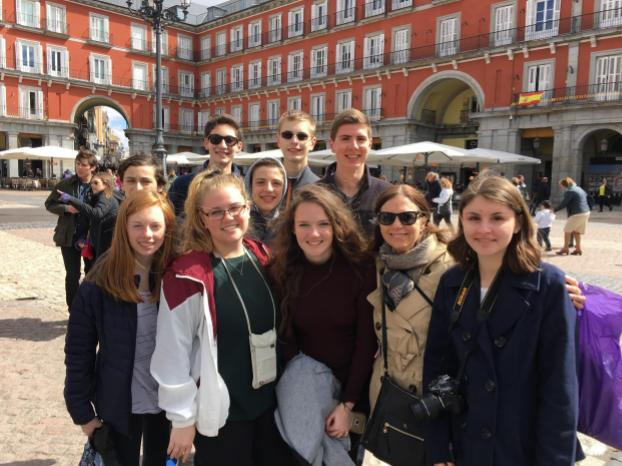 The students in front of the Plaza Mayor in Madrid  Picture courtesy of Senora Urban taken during            the trip.