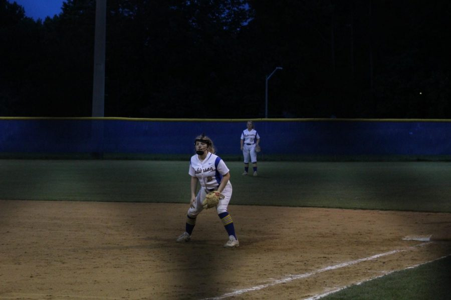 Maureen Dunn watches the   batter from first base. Robinson won against Mount Vernon 12-0.