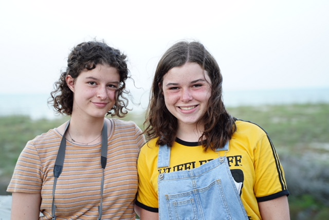 This picture is of me and Julia (Julia is on the left and I'm on the right) when we visited our grandparents in Florida.