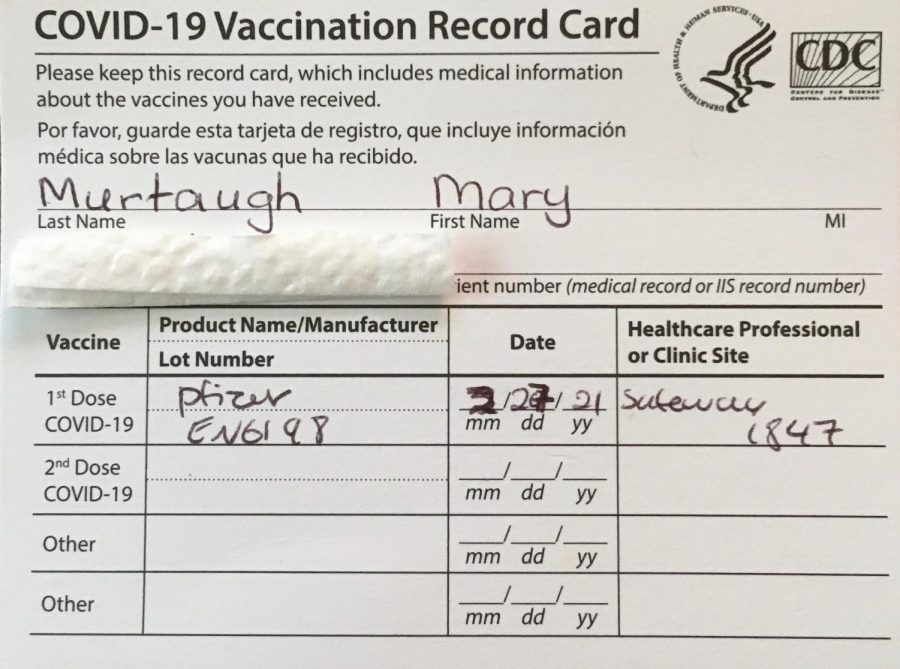 Mary Murtaugh's vaccination card. She got her first dose on Feb. 27 and is scheduled to get her second dose on March 20.